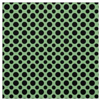 Sage Green and Black Polka Dots Fabric
