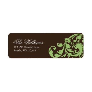 Sage Green and Brown Swirl Flourish Return Address