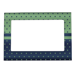 Sage Green and Dark Blue Polka Dots Photo Frame Magnets