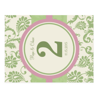 Sage Green and Dusy Rose Table Number Post Card