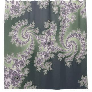 Sage Green and Lavender Mandelbrot Shower Curtain