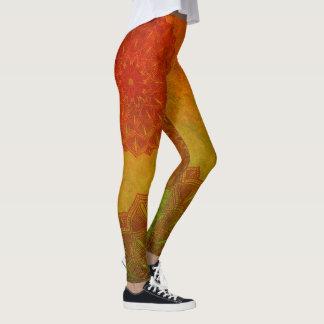 Sage Green and Rusty Red Mandala Leggings
