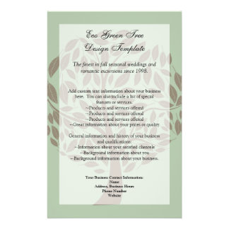 Sage Green and Soft Brown Stylised Eco Tree Personalized Flyer