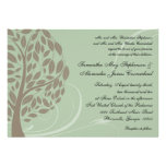 Sage Green and Soft Brown Stylised Eco Tree Personalized Invitation