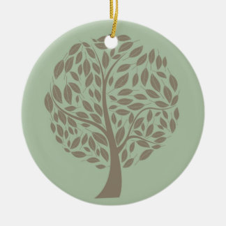Sage Green and Soft Brown Stylized Eco Tree Round Ceramic Decoration