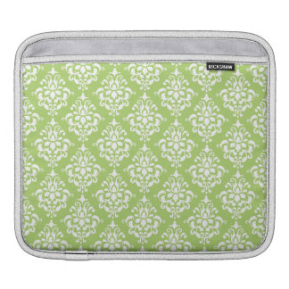 Sage Green and White Damask Pattern iPad Sleeve