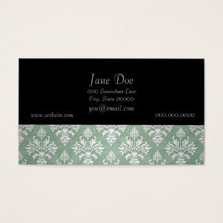 Sage Green and White Floral Damask