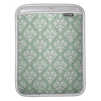 Sage Green and White Floral Damask iPad Sleeve