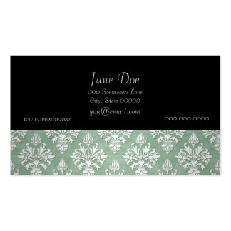 Sage Green and White Floral Damask Pack Of Standard Business Cards