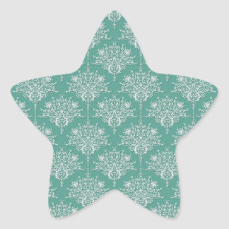 Sage Green and White Floral Damask Star Sticker