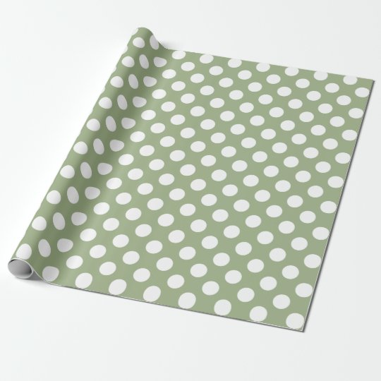Sage Green and White Polka Dots Wrapping Paper