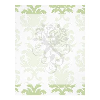sage green bold large damask pattern personalized flyer