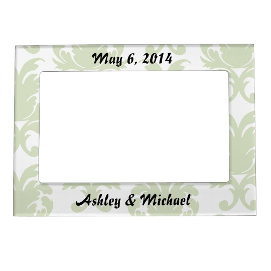 sage green bold large damask pattern magnetic frame