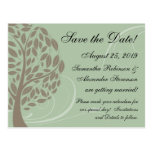 Sage Green, Brown Stylised Eco Tree Save the Date Post Cards