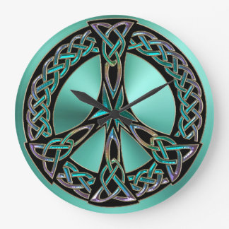 Sage Green Celtic Knot Peace Sign Clock