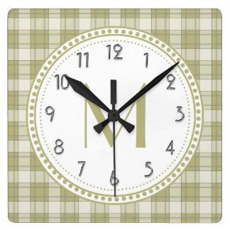 Sage Green Country Plaid Pattern Monogram Clocks