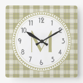 Sage Green Country Plaid Pattern Monogram Square Wall Clock