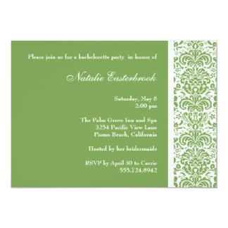 Sage Green Damask Bachelorette Party Invitation