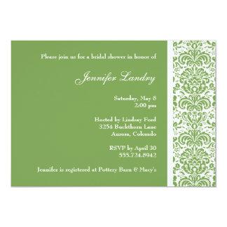 Sage Green Damask Bridal Shower Invitation