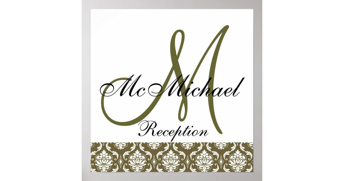 Sage Green Damask Monogram Wedding Reception Sign Poster