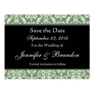 Sage Green Damask Save The Date Postcard