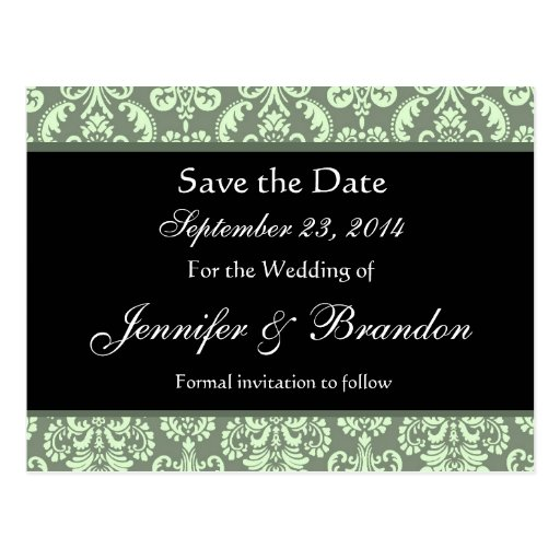 Sage Green Damask Save The Date Postcard