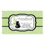 Sage Green Damask Spa Hot Stones Business Card