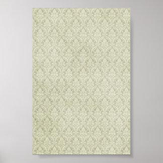 sage green damasks pattern background posters