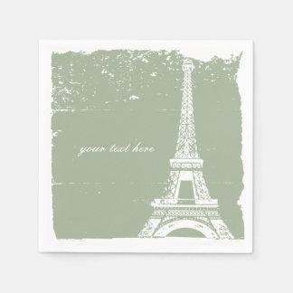 Sage Green Eiffel Tower Paper Napkin Set