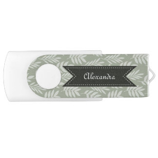 Sage Green Elegant Leaves Pattern With Name USB Flash Drive