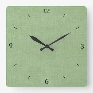 Sage Green Faux Linen Fabric Textured Background Square Wall Clock