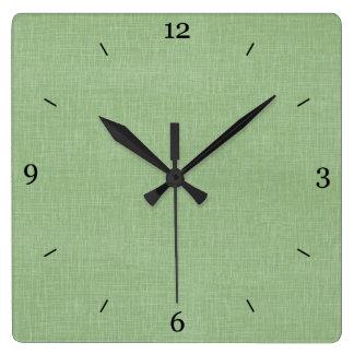 Sage Green Faux Linen Fabric Textured Background Wallclocks