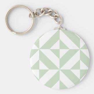 Sage Green Geometric Deco Cube Pattern Keychain
