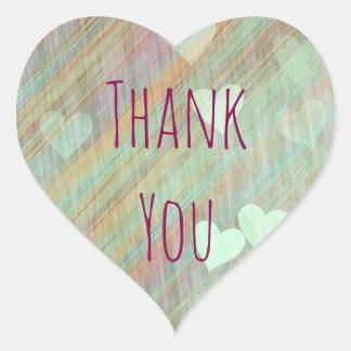 Sage Green Hearts Thank You Sticker