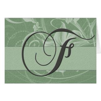 Sage green Irish monogram card - Initial F