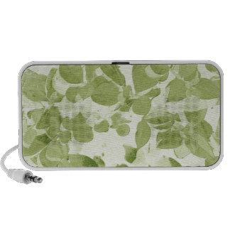 Sage Green Leaf Pattern, Vintage Inspired Travel Speakers