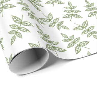 Sage Green Leaf Pattern Wrapping Paper