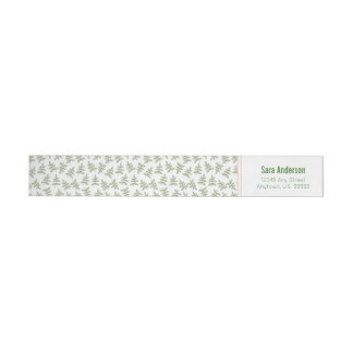 Sage Green Leaves Coral Border Wedding Invitation Wrap Around Label