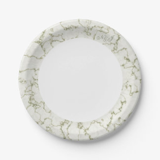 Sage green marble edge customised buffet party paper plate