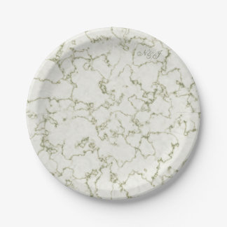 Sage green marble effect customised buffet party paper plate