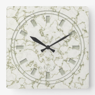 Sage Green marble effect Monogram Wall Clock