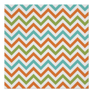 Sage Green, Orange, and Robins Egg Blue Chevron Poster