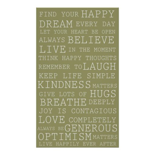 Sage Green Positive Thoughts Inspirational Words Poster