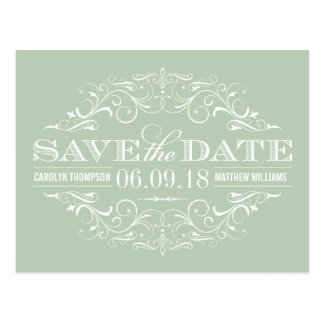 Sage Green Save the Date   Swirl and Flourish Postcard