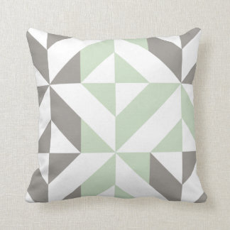 Sage Green & Silver Geometric 2-Sided Pattern Cushion