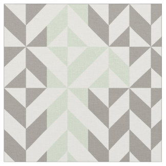 Sage Green & Silver Geometric Deco Cube Pattern Fabric