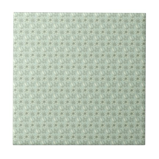 Sage Green Small Floral Print Ceramic Tile