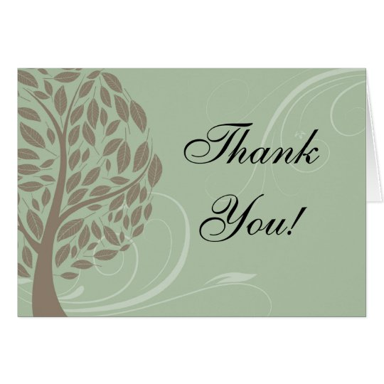 Sage Green, Soft Brown Stylised Eco Tree Thank You Card