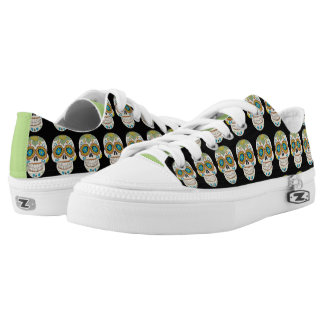 Sage Green Sugar Skull Shoes Printed Shoes
