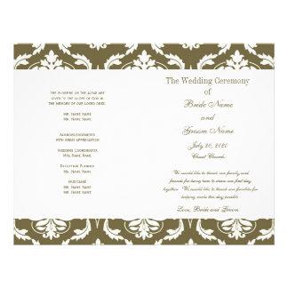 Sage Green Vintage Damask Wedding Program Flyer